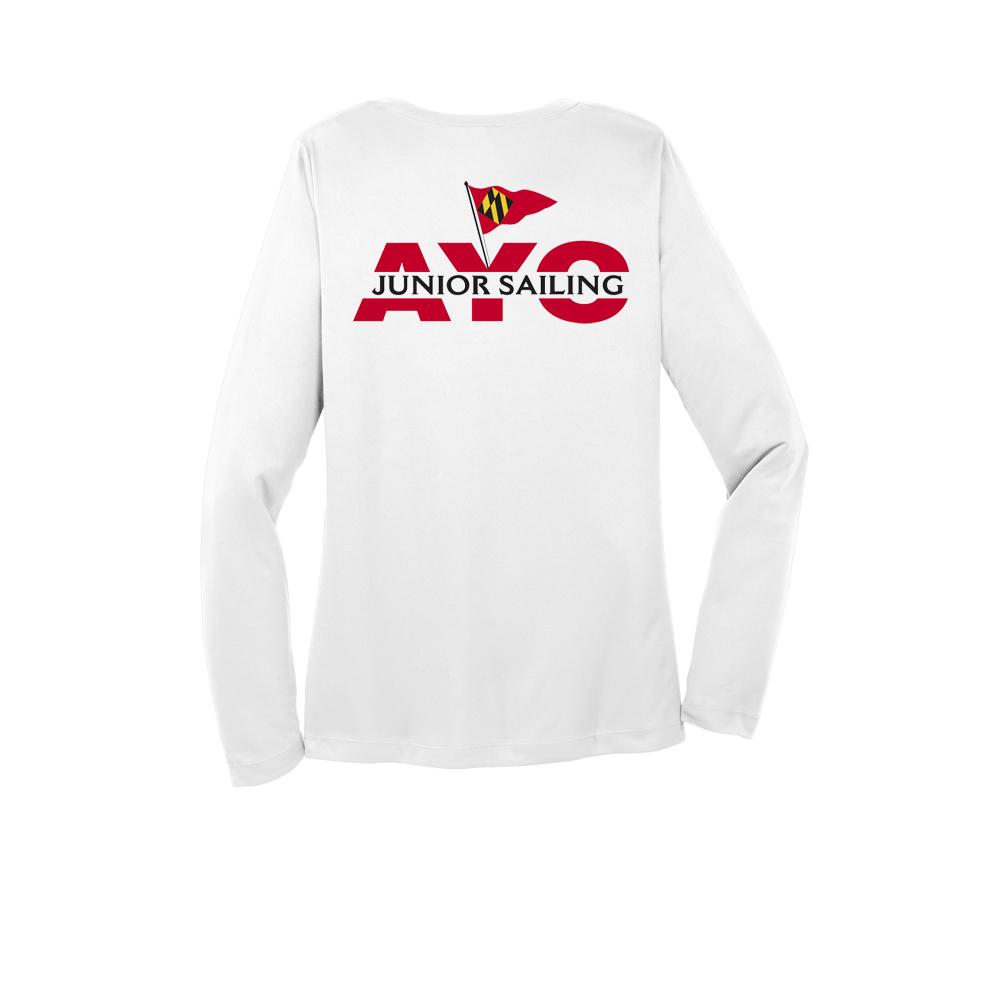 Annapolis Jr Yacht Club - Women's Long Sleeve V-Neck Tech Tee (AJYC223)
