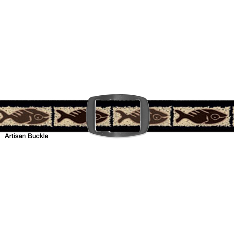 Croakies FOSSIL FISH BROWN ARTISAN BUCKLE NARROW