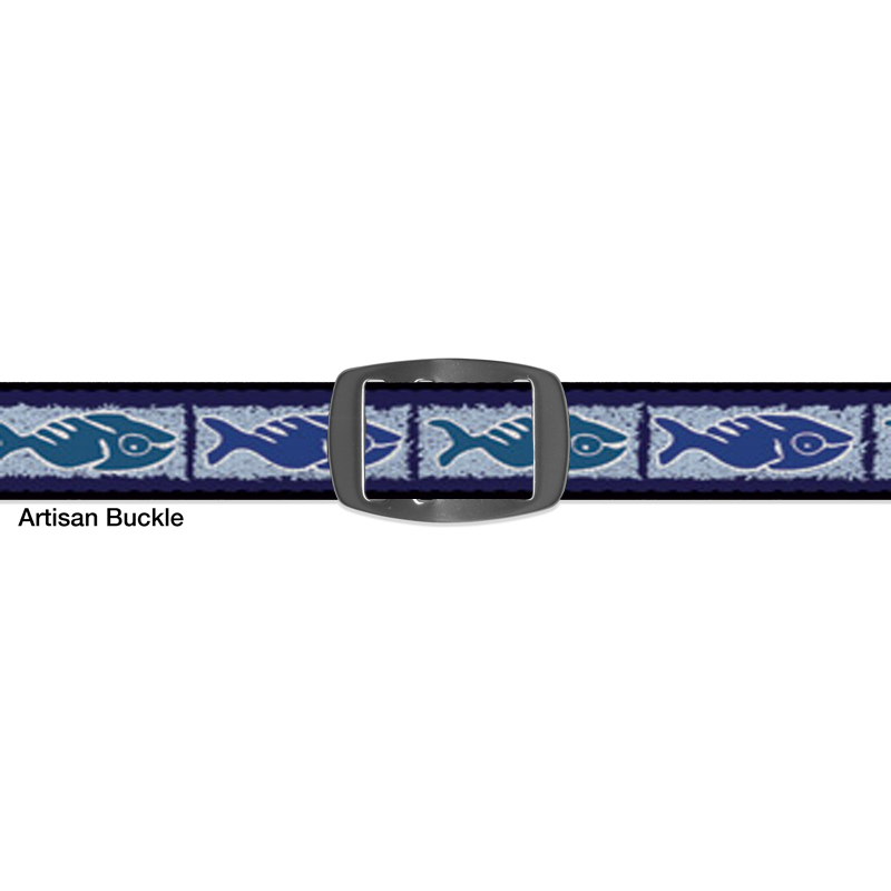 Croakies FOSSIL FISH BLUE ARTISAN BUCKLE NARROW