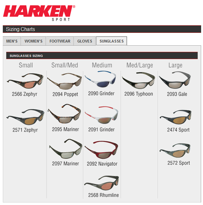 Eyeglass Frame Size Guide : HARKEN SIZE CHART - SUNGLASSES-Team One Newport