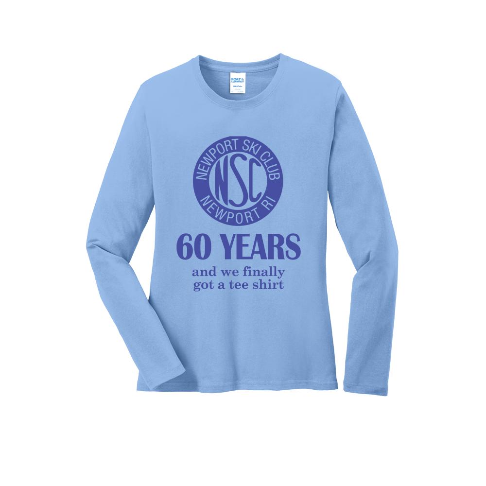 NEWPORT SKI CLUB - 60 YRS - W'S L/S COTTON T-SHIRT