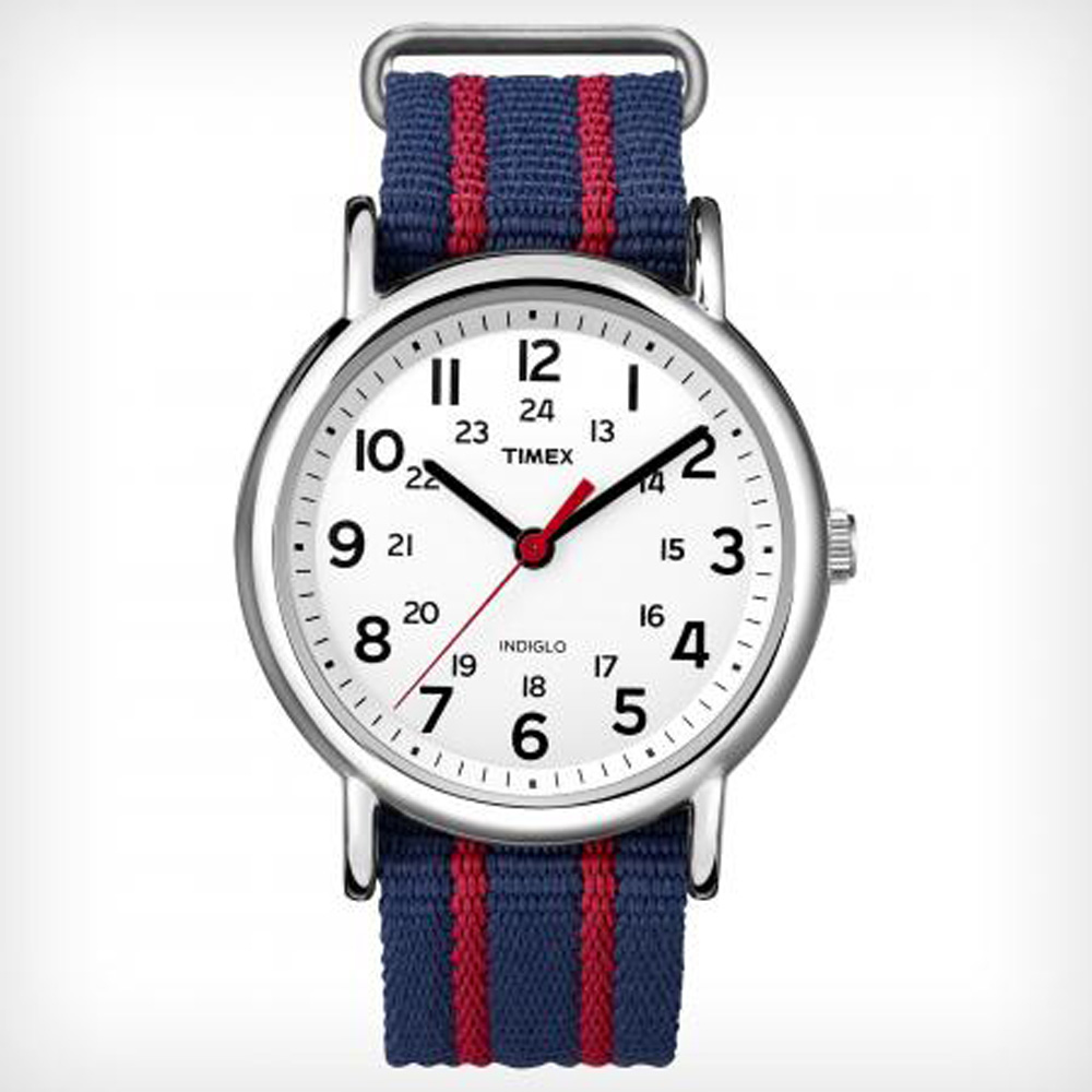 TIMEX WEEKENDER SLIP THRU RED AND BLUE (T2N747KW)