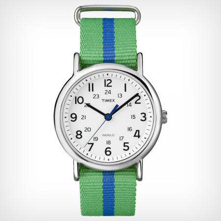 TIMEX WEEKENDER SLIP THROUGH BLUE AND GREEN (T2P1439J)