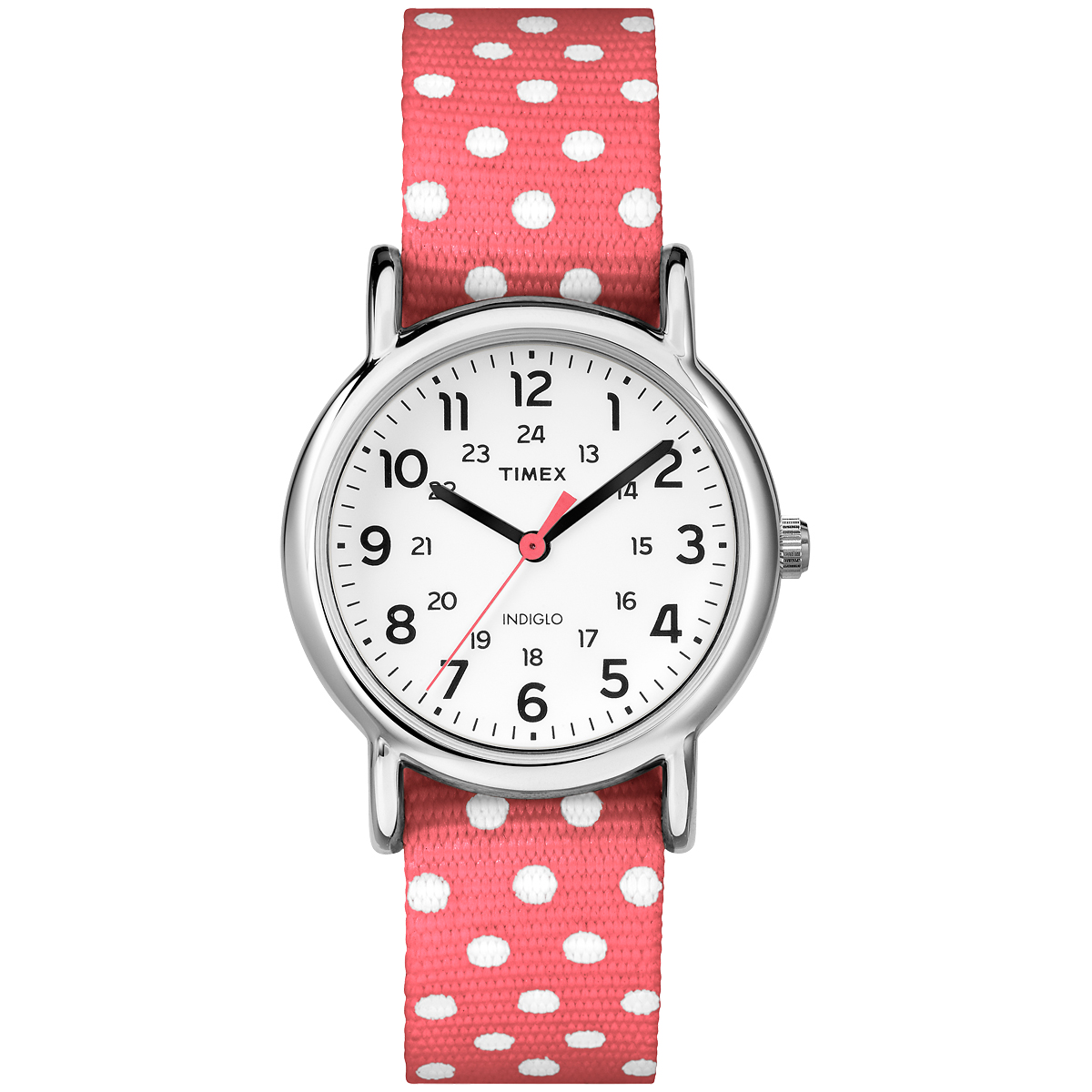 TIMEX WEEKENDER DOTS SMALL - CORAL POLKA DOT (TW2P656009J)
