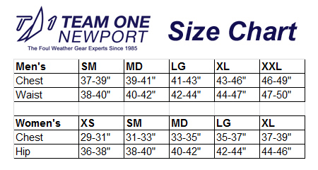 TEAM ONE NEWPORT SIZE CHART