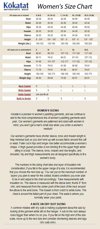 KOKATAT SIZE CHART - WOMEN'S