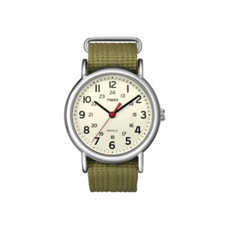 TIMEX WEEKENDER SLIP THROUGH CREAM-OLIVE (T2N651KW)